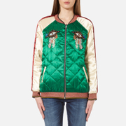 Maison Scotch Women's Reversible Relaxed Fit Bomber Jacket With Embroideries Multi