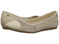 Hush Puppies Liza Heather Birch Crosshatch Nubuck Perf Women's Flat Shoes Beige