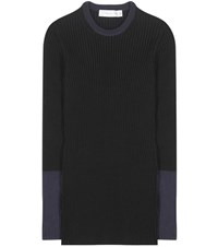 Victoria Beckham Knitted Cotton Blend Sweater Black