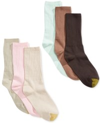 Gold Toe Women's Ribbed Crew Socks 6 Pack Pastel Turquoise