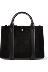 Theory West Mini Leather Trimmed Suede Tote Black