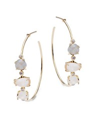 Tai Faceted Stone Accented Hoop Earrings 1.25 Gold