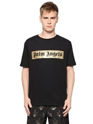 Palm Angels Logo Printed Cotton Jersey T Shirt