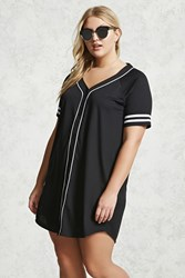 Forever 21 Plus Size Varsity T Shirt Dress Black White