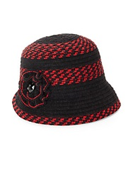 San Diego Hat Co. Chenille Striped Flower Cloche Red Black