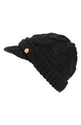 Women's Michael Michael Kors Cable Knit Newsboy Hat Black