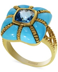 Effy Collection Turquesa By Effy Turquoise And Blue Topaz Ring In 14K Gold 6 1 8 Ct. T.W.