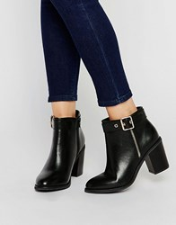 Miss Kg Janelle Buckle Heeled Ankle Boots Black Synthetic