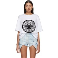 Balmain White Flocked Medallion T Shirt