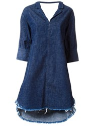 Miharayasuhiro Raw Hem Denim Dress Blue
