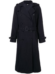 Aspesi Double Breasted Trench Coat Blue