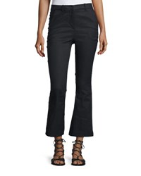 Derek Lam Cropped Flare Linen Blend Trousers Black