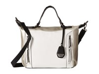Jessica Simpson Kyle Crossbody Satchel White Light Silver Black Satchel Handbags