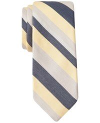 Ryan Seacrest Distinction Men's Newland Stripe Slim Tie Only At Macy's Navy Yellow