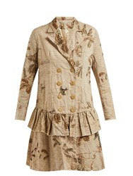 By Walid Hazy Jungle Double Breasted Coat Beige Print