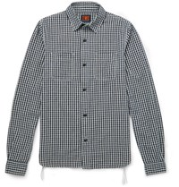 The Workers Club Checked Cotton And Linen Blend Flannel Shirt Blue