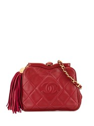 Chanel Vintage Cc Logos Fringe Bum Bag Red