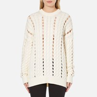 Alexander Wang Women's Crew Neck Cable Long Sleeve Jumper With Intarsia Slits Bone