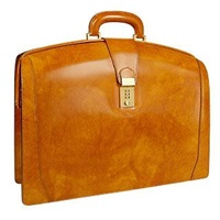 Pratesi Brunelleschi Italian Leather Briefcase Mustard Yellow