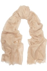 Tomas Maier Cotton And Linen Blend Scarf Nude