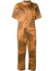 Closed Palm Leaves Jumpsuit Brown
