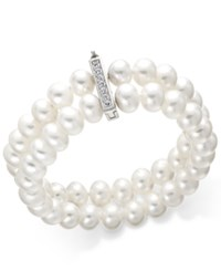 Belle De Mer Cultured Freshwater Pearl 8 1 2 Mm And Cubic Zirconia Two Row Bracelet In Sterling Silver