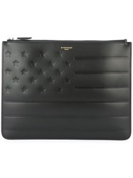 Givenchy American Flag Embossed Clutch Black