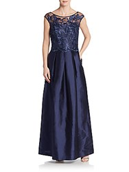 Kay Unger Embroidered Lace Top Gown Navy