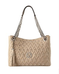 Valentino By Mario Valentino Verra D Quilted Sauvage Leather Tote Bag White
