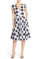 Eliza J Gingham Stretch Cotton Fit And Flare Dress Petite Blue