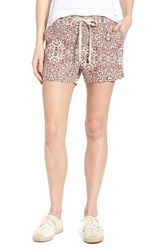 Women's Caslon Drawstring Linen Shorts Flax Red Floral Print