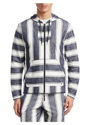 Madison Supply Striped Full Zip Cotton Hoodie Off White