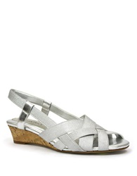 Ellen Tracy Jonas Wedge Sandals Silver