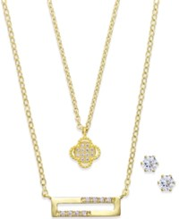 City By City Gold Tone Flower Rectangle Necklace And Stud Earring Set