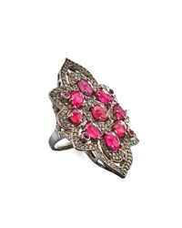 Bavna Composite Ruby Tourmaline And Diamond Flower Ring