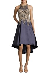 Xscape Evenings Embroidered High Low Mikado Cocktail Dress Navy Gold