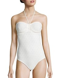 Shoshanna Ivo One Piece Cinched Swimsuit Ivory