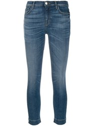Pinko Faded Skinny Cropped Jeans Blue