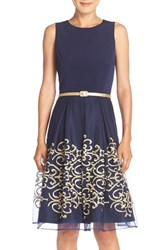 Chetta B Women's Belted Embroidered Mesh Fit And Flare Dress