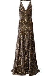 Etro Open Back Metallic Flocked Jacquard Gown Multi