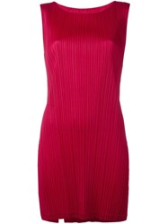 Issey Miyake Pleats Please By Ribbed Long Tank Pink And Purple