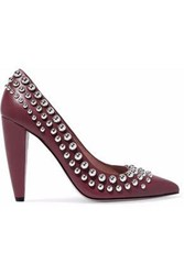 Red Valentino Studded Leather Pumps Burgundy