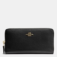 Coach Accordion Zip Wallet In Polished Pebble Leather Li Black