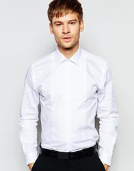 Number Eight Savile Row Evening Shirt With Bib Front In Skinny Fit White