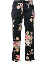 Alexander Mcqueen Cropped Pyjama Style Trousers Black