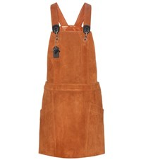 Coach Suede Pinafore Dress Brown