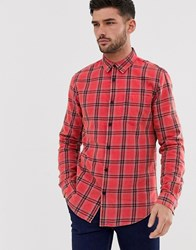 New Look Regular Fit Washed Check Shirt In Red