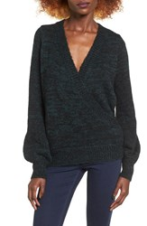 Love By Design Women's Cross Over Sweater Green Blue Black Marl