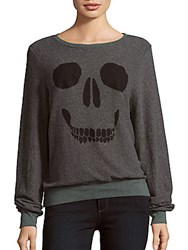 Wildfox Couture Skull Face Print Pullover Dirty Black