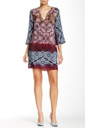 Glam Split V Neck Printed Silk Dress Multi
